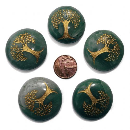 Green Aventurine Tree of Life Crystal Flat Palm Stone